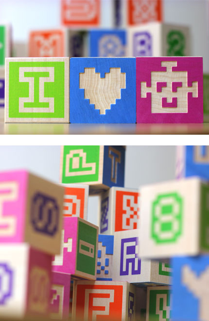 Bitblox: Wooden Pixel Retro Blocks