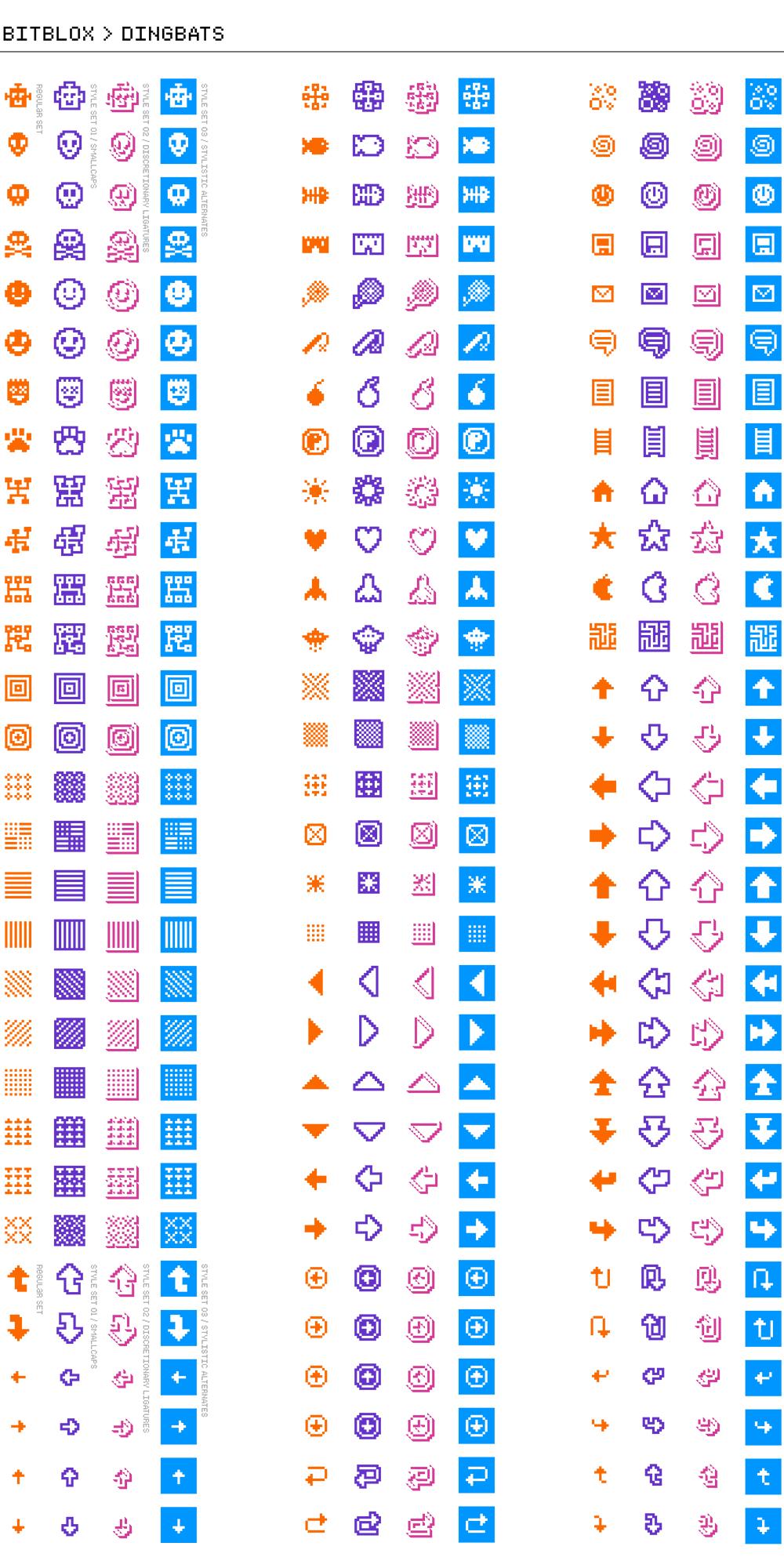 Bitblox Dingbats: Digital Typeface