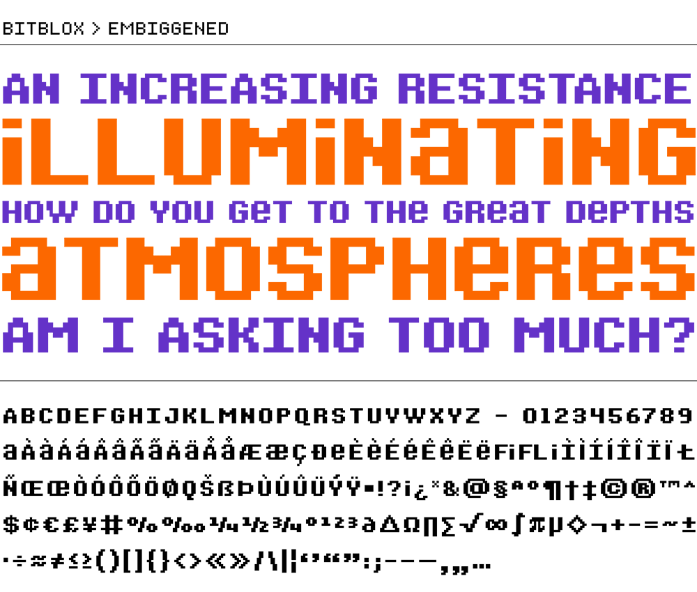 Bitblox Embiggened: Digital Typeface