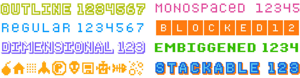 Bitblox Fonts - 8 amazing pixelated fonts!
