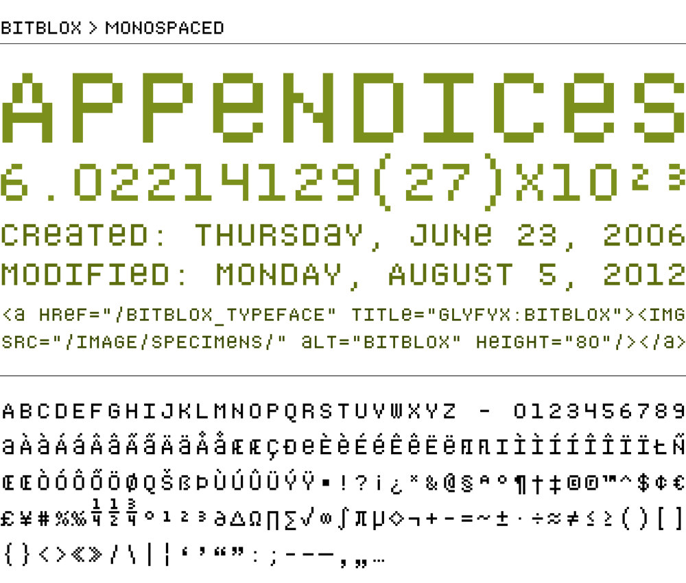 Bitblox Monospaced: Digital Typeface